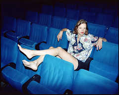 Alix (AntoineLegond) Tags: beauty woman legs red lipstick blue movie theater cinema flash strobe mediumformat mamiya7 mamiya7ii 120 6x7 kodak portra analogue paris