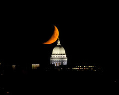 Hold It Right There (Kirby Wright) Tags: moon luna crescent telephoto alignment aligned capitol dome madison wisconsin dane county isthmus lake monona olbrich park night sky set setting orange touching eclipsed nikon d750 tamron 150600mm f563 manfrotto tripod
