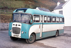 Jones Motors . Login  , West Wales . HEF114 . Login Garage , Login , West Wales .  October-1975 . (AndrewHA's) Tags: bus coach jones login west wales bedford sb plaxton conway hef114 second hand bee line hartlepool dual purpose