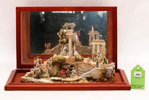 "Robert Olszewski Goebel Nativity Series 1991 ""The Nativity Landscape"" w/ figures & display case ($268.80)"