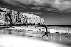 Let's Go Surfing (freundsport) Tags: beach sony7m3 sagres portugal summer sky people water ocean sand sony24mm14 blackandwhite landscape surfing