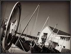 Bembridge Harbour (Jason 87030) Tags: masts ships yachts saling black white noir blanc bw bbw rod steart bembridge uk island iow monot ones frame border mirror reflection composition exile sky light lighting weather unusual different building architecture embankment road wall angle sony ilde alpha a6000 lens tag flickjr