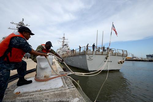 USS Mahan (DDG 72) gets underway ahead of Hurricane Dorian.