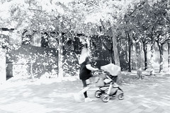 Sunlit Stroll (esallen52) Tags: light shadows woman mother street walk trees city black white sunlight pushchair buggy stroller