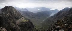 Cuillin Panorama (Russell-Davies) Tags: skye isleofskye highlands uk scotland cuillin blackcuillin cuillinridge sgurrnabanachdich loch panorama lochcoruisk blabheinn munro summit landscape mist river canon 6dmkii