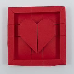 Framed Heart (Michał Kosmulski) Tags: origami paperfolding papiroflexia art craft heart frame love michałkosmulski tantpaper red valentine stvalentinesday tessellation