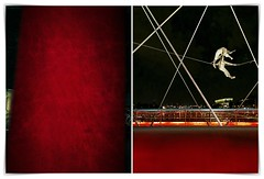 red courtain truth and blues (kazimierz.pietruszewski) Tags: abstract form composition digipaint digitalart concept graphic colorful border diptych 21 kraków cracow footbridge
