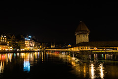Chapel Bridge at Night (Ann Kunz) Tags: switzerland night landscape travel lucerne chapelbridge europe reflections