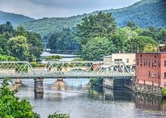 Shelburne Falls-5 (albyn.davis) Tags: massachusetts usa water river trees bridge buildings colors green reflection travel
