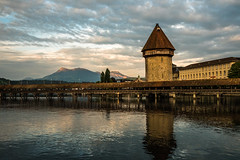 Chapel Bridge (Ann Kunz) Tags: switzerland travel landscape alps lucerne europe chapelbridge lake sky