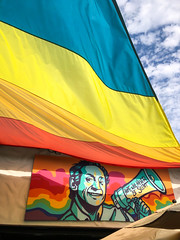 Harvey Milk Mural at The Abbey - West Hollywood, CA (ChrisGoldNY) Tags: chrisgoldphoto chrisgoldny chrisgoldberg bookcovers albumcovers licensing iphone california socal cali harveymilk milk flag gay pride gayrights mural art political weho abbey westhollywood