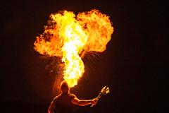 Playing with fire (VisitLakeland) Tags: bellanranta finland kuopio kuopiotahko lakeland matkailukeskussaana saana evening fire fireshow ilta night tulensyöksijä tuli tulishow venetsialaiset yö