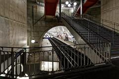 Station Cité (Guillaume DELEBARRE) Tags: métro underground paris cité îledelacité escalier stairs escaliers station canon 5dmarkiv wideangle tamron1530 urban concrete tunnel souterrain architecture france metropolitain lights