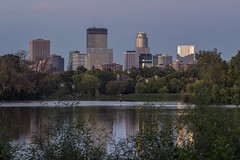 Minneapolis from Lake of the Isles (Sam Wagner Photography) Tags: minneapolis minnesota midwest america usa skyline mn reflections reflect sunset summer lake isles water calm paddle board fun evening beautiful cityscape urban nature landscape
