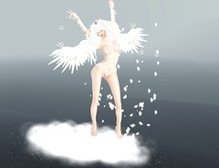 Angel white (Cassy 666) Tags: angel particle aura feature wings nyne lingerie bodysuit gradient latex shiny event curves star belleza maitreya slink