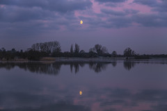 Dawn Moon (CraDorPhoto) Tags: uk trees sky moon reflection nature clouds landscape outside outdoors cambridgeshire waterscape canon6d