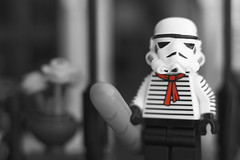 Le Stormtrooper (thereeljames) Tags: stormtrooper french mustache bw lego starwars legophotography toyphotography toys toyphotographers minifigure canon
