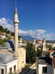 Mosque & Church (Thomas Rotte) Tags: mosque church berat albania blue sky summer mountain village city muslim greek orthodox catholic