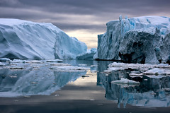 173A5104 What will happen when the ice melts. (margo2x) Tags: ilulissat qaasuitsup greenland circle arctic sheet ice icebergs clouds reflection bay disco