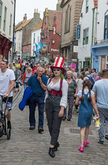 Owning the town (daveseargeant) Tags: steampunk whitby north yorkshire festival 2019 seaside coastal coast sea street candid nikon df colour 50mm 18g cosplay goth gothic cobbled