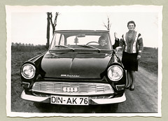 """DKW Junior De Luxe (Vintage Cars & People) Tags: vintage classic black white """"blackwhite"""" sw photo foto photography automobile car cars motor dkw dkwjunior deluxe juniordeluxe economicmiracle wirtschaftswunder woman lady mother child boy son childhood boyhood steeringwheel fashion 1960s 6os sixties cardigan skirt stockings road countryside dinslaken"""