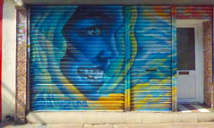 The Smiling Blue (Steve Taylor (Photography)) Tags: graffiti mural streetart portrait shop store blue yellow red