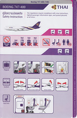 Thai B-747-400 (Dmitry's Safety Cards for Trade) Tags: boeing b747 b747400 thai thailand safetycard