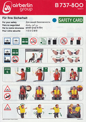 Air Berlin B-737-800 (Dmitry's Safety Cards for Trade) Tags: b737 boeing b737800 germany airberlin airberlingroup safetycard