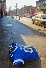 Are you Ready for some Football?! (TravelsWithDan) Tags: balloon street newenglandpatriots jersey sidewalk urban city brooklyn nyc newyorkcity outdoors winter