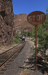 Stop, Go (GLC 392) Tags: rock cut cliff face stop sign 50 52 53 55 56 fighting world down hill grade percent house houses side fmi freeport mcmoran copper gold mine fmix morenci az ariozona emd gp383 gp38ac3 gp382 acid tank railroad railway mountain mountains phelps dodge corporation mining plant corp clifton