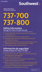 Southwest Airlines B-737-700/-800 (Dmitry's Safety Cards for Trade) Tags: usa b737 boeing b737700 b737800 southwestairlines safetycard