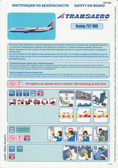 Transaero Airlines B-737-800 (Dmitry's Safety Cards for Trade) Tags: b737 boeing b737800 russia transaeroairlines safetycard