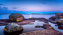 Vallø Bay Moonlit Seascape (Kurt Evensen) Tags: norway longexposure sea leefilter landscape le nature water tønsberg sky seascape rockyshore weather vestfold shore