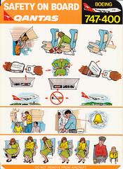 Qantas B-747-400 (Dmitry's Safety Cards for Trade) Tags: boeing b747 b747400 australia qantas safetycard