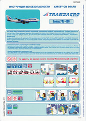 Transaero Airlines B-747-400 (Dmitry's Safety Cards for Trade) Tags: boeing russia b747 b747400 transaeroairlines safetycard