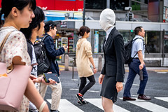 Tokyo 2019 (burnt dirt) Tags: shibuya tokyo japan asia japanese asian candid documentary street photography downtown metro urban city scramble crossing outdoor people person fujifilm xt3 fujinon 50mm f2 woman girl smile laugh train station style fashion life real crowd tourist nippon mask no face faceless