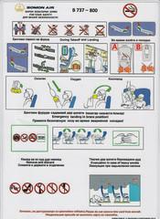 Somon Air B-737-800 (Dmitry's Safety Cards for Trade) Tags: b737 boeing b737800 tajikistan somonair safetycard