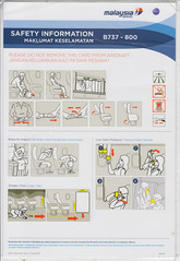 Malaysia Airlines B-737-800 (Dmitry's Safety Cards for Trade) Tags: b737 boeing b737800 malaysia malaysiaairlines safetycard