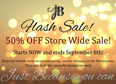 FLASH SALE! 50% OFF store wide! (Just BECAUSE_SL) Tags: sale mainstore 50 off storewide secondlife sl just because jb inworld flash