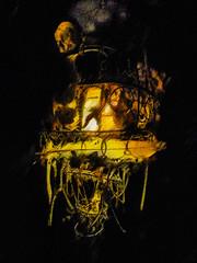 He Carried a Ghostly Lantern (Steve Taylor (Photography)) Tags: lantern skull digitalart lamp black contrast yellow strange weird scary eerie frightening spooky metal uk gb england greatbritain unitedkingdom london texture bones viktorwyndmuseum