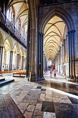 high arch (khrawlings) Tags: salisbury cathedral architecture arch ceiling light england church buuilding column pillar
