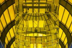 Yellow glass (Jan van der Wolf) Tags: map19741v zoetermeer mandelabrug architecture architectuur lift yellow geel monochrome monochroom modernarchitecture