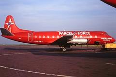 G-PFBT V. Viscount British Air Ferries CVT November 1994 (cvtperson) Tags: gpfbt vickers viscount british air ferries coventry airport cvt egbe parcelforce