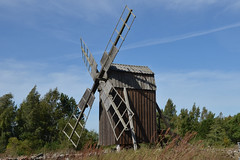 The mill (Heathermary44) Tags: outdoors nopeople grass stonewall landscape sky wood builtstructure ruralscene mill oldwindmill öland sweden heatherthorsen