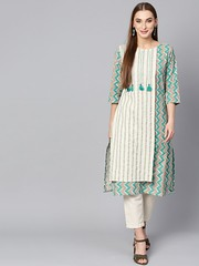 Buy Shree Awesome Off-White & Teal Cotton Stripe Kurta At Best Price in India (Shree - The Indian Avatar) Tags: awesome offwhite teal cotton stripe kurta