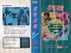 """Seoul Korea vintage VHS cover art for obscure oddball film """"Ghost in the Noonday Sun"""" (1974) - """"Piracy Alert"""" (moreska) Tags: seoul korea vintage vhs cover art retro oldschool ghostinthenoondaysun 1974 cult odd weird bikini pirates adventure comedy peter medek uk import british graphics fonts hangul videocassette analogue t90 spine collectibles archive museum rok asia"""