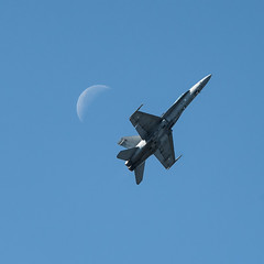 Hornet and Moon (tonyguest) Tags: jet moon hornet military aircraft aviation ronneby f17 airshow blekinge sweden tonyguest sky