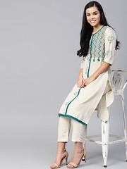 Buy Shree Off-White & Teal Cotton Szig-Zag Kurta At Best Price in India (Shree - The Indian Avatar) Tags: offwhite teal cotton szigzag kurta