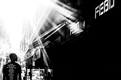 out of the darkness  God created the Febo (a Dutch Mc Donalds like restaurant chain) (Gerrit-Jan Visser) Tags: bewerkt febo mc donalds snackbar restaurant food streetphotography bnw blackandwhite amsterdam netherlands god creation power hunger