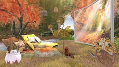 Golden leaves (Rose Sternberg) Tags: home garden interior second decor deco life autumn homes wild cinema lamp grass shop set bag for mugs tv couple with outdoor seat bowl kettle popcorn shelby dodo aphrodite cocoa simply flf leora holder weedy sways 2019heart linden friday 50 fifty fiftylindenfriday outside landscape heart hearthomes